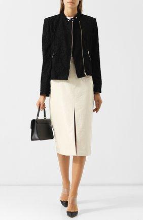 Куртка с кружевной отделкой на молнии DKNY черная | Фото №1