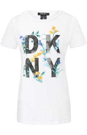 Хлопковая футболка с логотипом бренда DKNY разноцветная | Фото №1