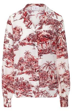 Женская шелковая блуза с принтом Stella Jean, цвет разноцветный, арт. J C 050 00 T 9674 в ЦУМ | Фото №1