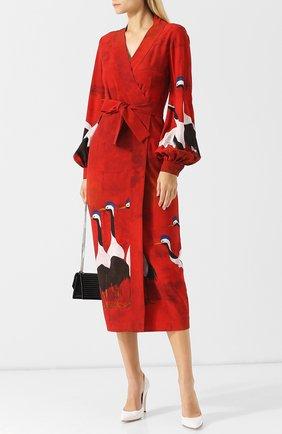 Платье-миди с запахом и принтом Stella Jean красное | Фото №1