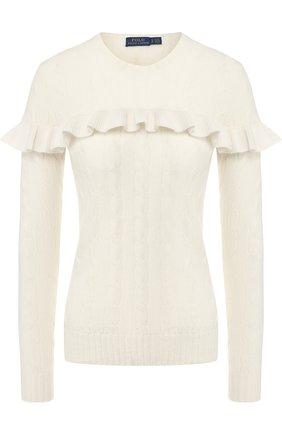 Пуловер из смеси шерсти и кашемира с оборкой Polo Ralph Lauren кремовый | Фото №1