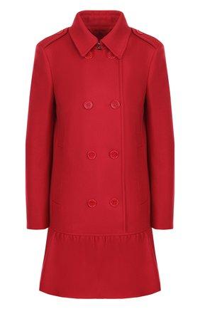 Двубортное шерстяное пальто с оборкой REDVALENTINO красного цвета | Фото №1