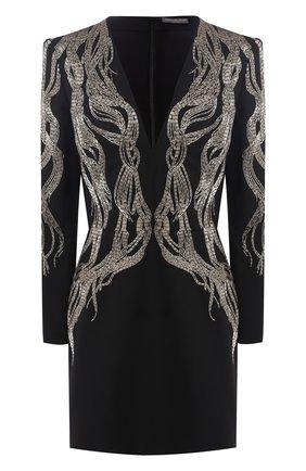 Платье из смеси шерсти и шелка с декоративной отделкой Alexander McQueen черное   Фото №1