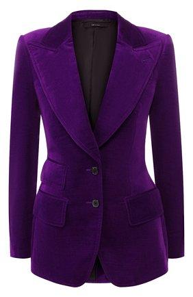 Женский приталенный бархатный жакет TOM FORD фиолетового цвета, арт. GI2529-FAX393 | Фото 1