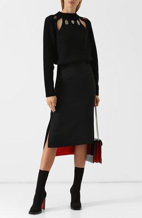 Юбка из смеси шерсти и шелка Alexander McQueen черная   Фото №1
