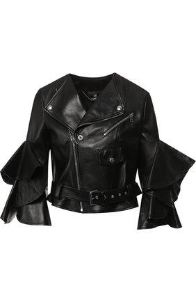Кожаная куртка с оборками на рукавах Alexander McQueen черная   Фото №1