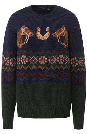 Шерстяной пуловер с вышитым принтом Polo Ralph Lauren разноцветный | Фото №1