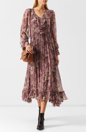 Шелковое платье-миди с оборками и принтом Polo Ralph Lauren разноцветное | Фото №1