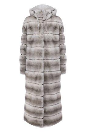 Женская шуба из меха норки с капюшоном VALENTINO серого цвета, арт. QF3FA5961DF | Фото 1