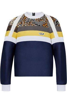 Пуловер в полоску с круглым вырезом Louis Vuitton темно-cиний | Фото №1