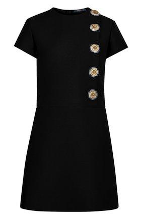 Мини-платье с декоративными пуговицами Louis Vuitton черное | Фото №1