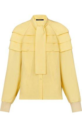 Женская шелковая блуза с воротником аскот Louis Vuitton, цвет желтый, арт. 1A4KRN в ЦУМ | Фото №1