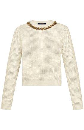 Пуловер с декоративной отделкой Louis Vuitton бежевый | Фото №1