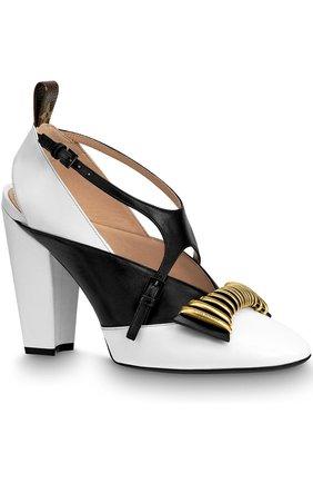 Кожаные туфли Headline на устойчивом каблуке Louis Vuitton белые | Фото №1