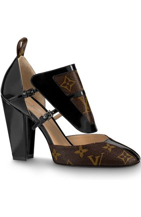 Кожаные туфли Headline на устойчивом каблуке Louis Vuitton коричневые | Фото №1