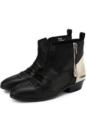 Кожаные ботинки Viand с потертостями Golden Goose Deluxe Brand черно-белые | Фото №1