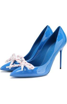 Лаковые туфли с бантом на шпильке   Фото №1