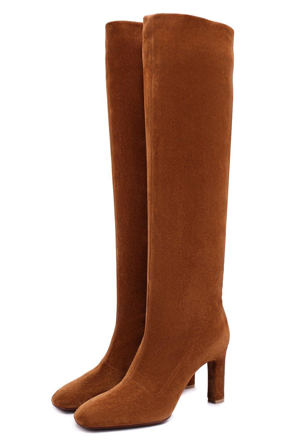 Женские светло-коричневые замшевые сапоги на устойчивом каблуке ... e55ece62ed7