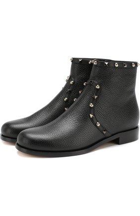 Кожаные ботинки Valentino Garavani Rockstud Rolling на низком каблуке | Фото №1