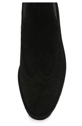 Замшевые челси с брогированием на платформе Hogan черные | Фото №5