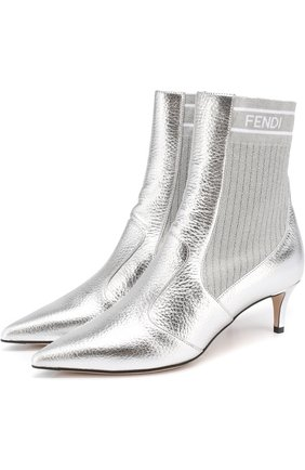 Ботильоны из металлизированной кожи с эластичной вставкой на каблуке kitten heel | Фото №1