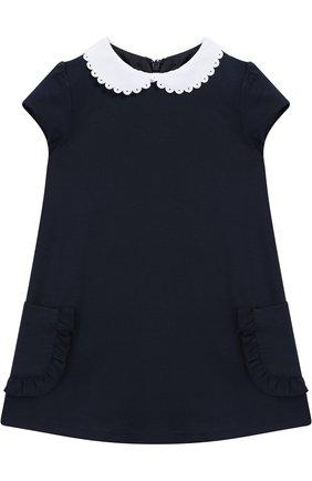 Платье из вискозы с контрастной отделкой | Фото №1