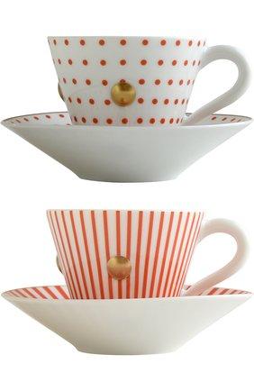 Мужская набор из 2-х чашек с блюдцами delphos&knossos BERNARDAUD красного цвета, арт. 1777/22464 | Фото 1