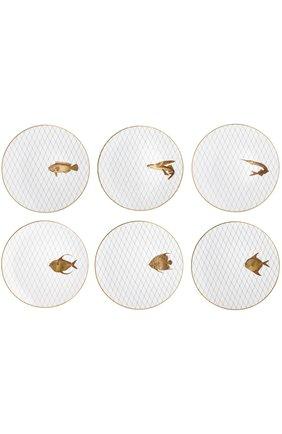 Мужского набор из 6-ти обеденных тарелок poissons d'or BERNARDAUD золотого цвета, арт. 2445/6853 | Фото 1