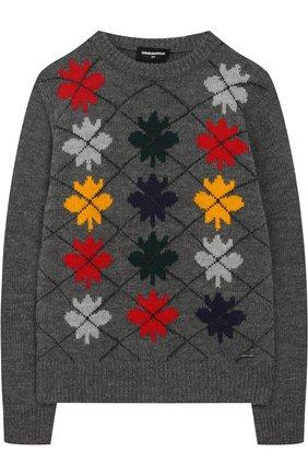 Вязаный пуловер с контрастным узором   Фото №1