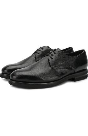 Кожаные дерби на шнуровке с внутренней меховой отделкой H`D`S`N Baracco черные   Фото №1