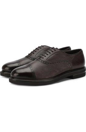 Кожаные оксфорды на шнуровке с внутренней меховой отделкой H`D`S`N Baracco темно-коричневые   Фото №1
