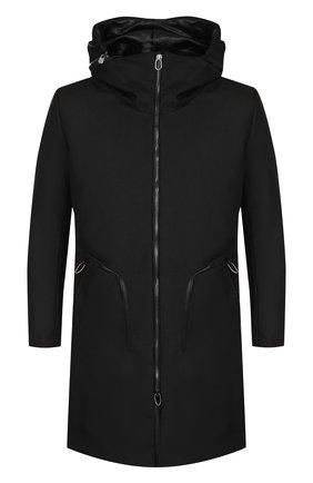 Однобортное пальто на молнии с капюшоном | Фото №1