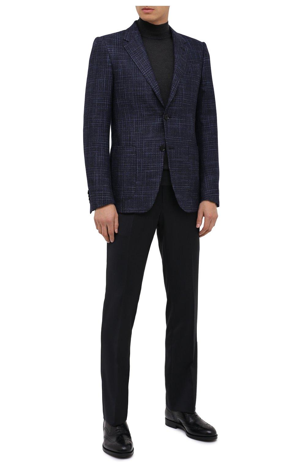 Мужские кожаные оксфорды GIORGIO ARMANI темно-синего цвета, арт. X2C590/XF294   Фото 2