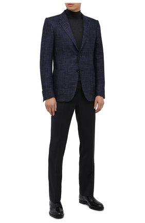 Мужские кожаные оксфорды GIORGIO ARMANI темно-синего цвета, арт. X2C590/XF294 | Фото 2