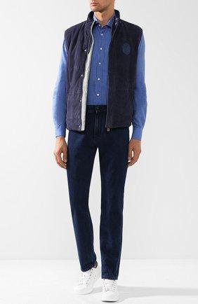 Хлопковая рубашка с воротником кент Luciano Barbera голубая | Фото №1