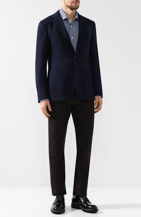 Однобортный пиджак из смеси шерсти и кашемира Luciano Barbera синий | Фото №1