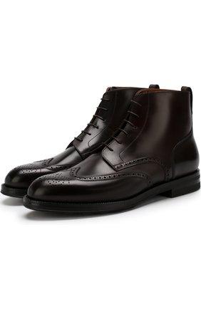 Кожаные высокие ботинки на шнуровке с брогированием W.Gibbs темно-коричневые | Фото №1