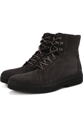 Кожаные высокие ботинки на шнуровке с внутренней меховой отделкой | Фото №1