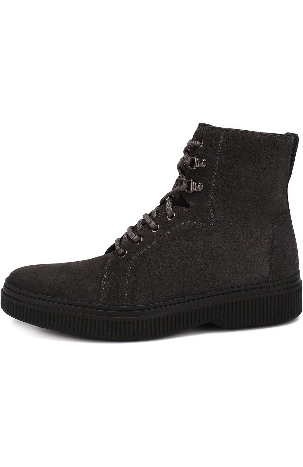 Кожаные высокие ботинки на шнуровке с внутренней меховой отделкой | Фото №3