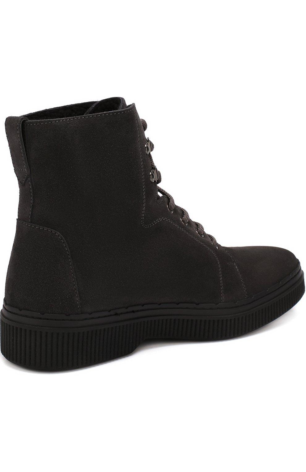 Кожаные высокие ботинки на шнуровке с внутренней меховой отделкой | Фото №4
