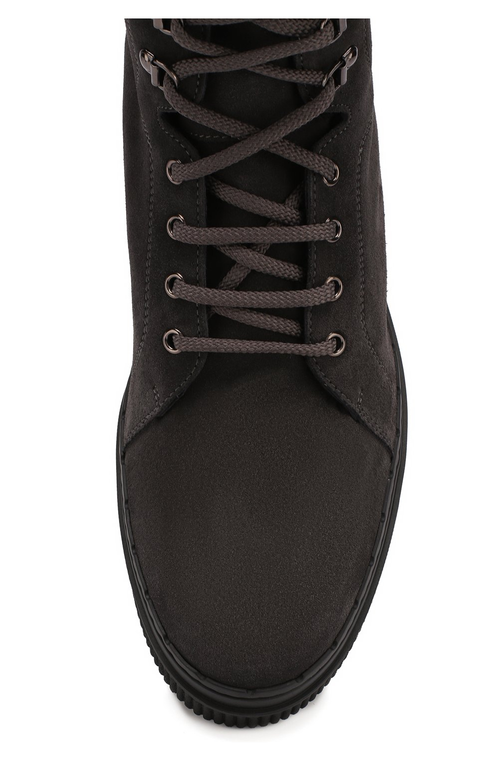 Кожаные высокие ботинки на шнуровке с внутренней меховой отделкой | Фото №5