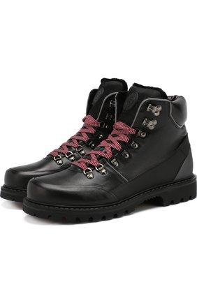 Кожаные высокие ботинки на шнуровке с внутренней меховой отделкой Bogner черные | Фото №1