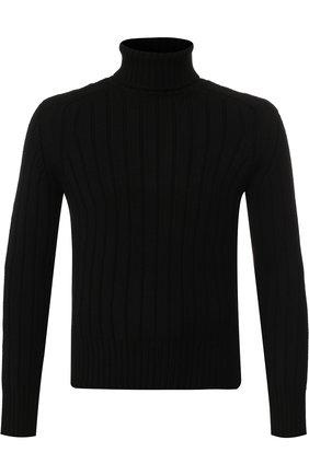 Шерстяной свитер с воротником-стойкой Cruciani черный | Фото №1