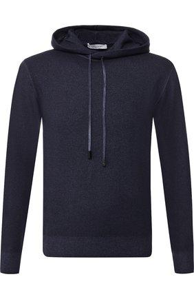 Джемпер из смеси шерсти и кашемира в капюшоном Cruciani темно-синий | Фото №1