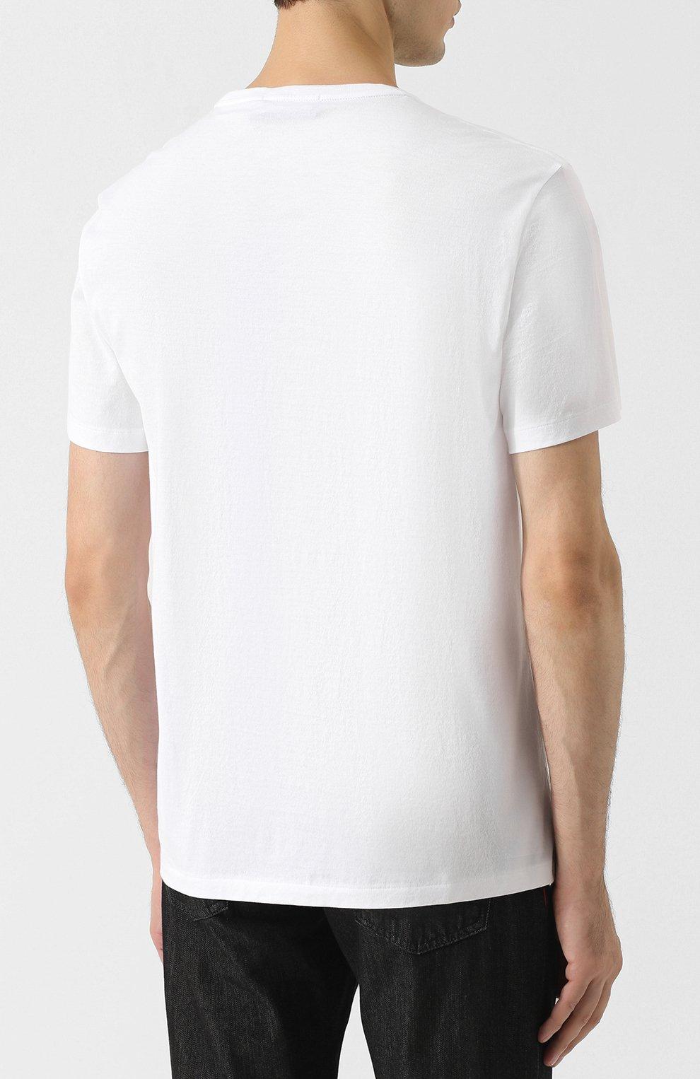 Мужская хлопковая футболка с принтом RALPH LAUREN белого цвета, арт. 790727863   Фото 4