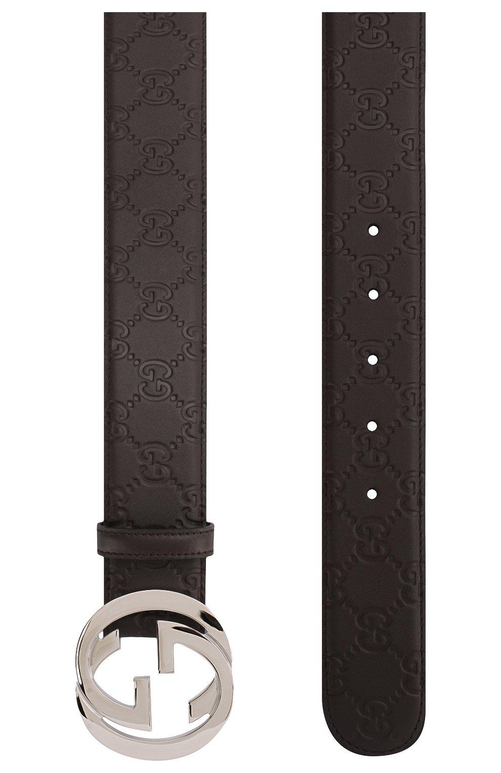 Мужской кожаный ремень signature GUCCI темно-коричневого цвета, арт. 411924/CWC1N | Фото 2 (Случай: Повседневный, Формальный)