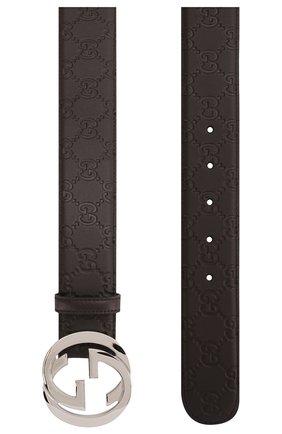 Мужской кожаный ремень signature GUCCI темно-коричневого цвета, арт. 411924/CWC1N | Фото 2