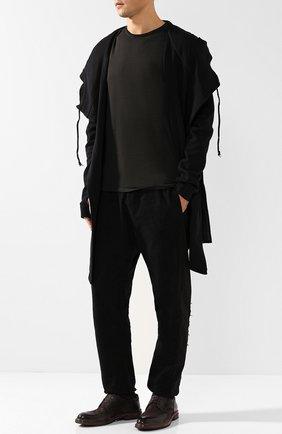 Кожаные дерби на шнуровке с брогированием Moma темно-коричневые | Фото №1