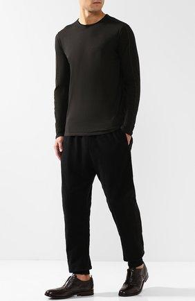 Кожаные оксфорды без шнуровки с брогированием Moma темно-коричневые | Фото №1
