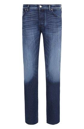 Джинсы прямого кроя с потертостями Jacob Cohen синие | Фото №1
